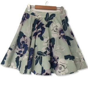 Warehouse Floral Full Circle Green Skirt Size 2
